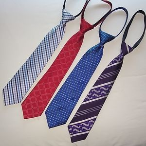 Lot of four boys zipper neckties
